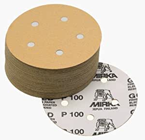 Mirka 23-614-AP 5 5-Hole Assorted Grits (10 Each Of 80/100/120/150/220) Dustless Hook & Loop Sanding Discs by Mirka