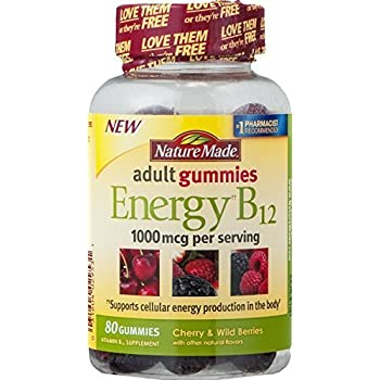 Nature Made Energy B-12 Adult Gummies Cherry & Wild Berries - 80 Gummies (Pack of 2)