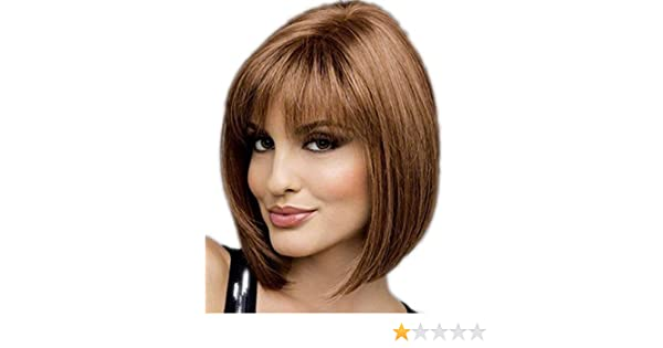Amazon.com : Womens Short Blonde Brown Bob Wig With Bangs Wigs and 1 Wig Cap, Pelucas de Cabello Natural Straight Hair Wigs with See-through Bangs; ...