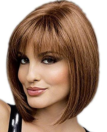 Womens Short Blonde Brown Bob Wig With Bangs Wigs and 1 Wig Cap, Pelucas de