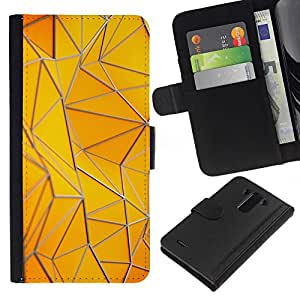 KingStore / Leather Etui en cuir / LG G3 / Motif Polygone bâtiment or jaune