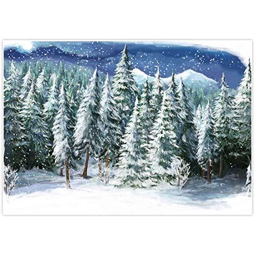 Allenjoy 7x5ft Winter Landscape Backdrop for Studio Photography Christmas Forest Wonderland Snowflake Scene Holiday Pictures Background Newborn Party Decorations Children Portrait Photo Props Supplies (Landscape Photos Christmas Winter)