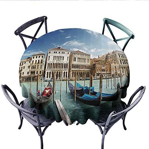 Venezia Cover - Italian Historic Decor Washable Tablecloth Gondolas Venetian Adriatic Lagoon Venezia Photo Table Cover for Kitchen (Round, 36 Inch,)