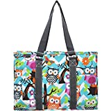 N Gil All Purpose Organizer Medium Utility Tote Bag (Chevron Owl Aqua/Grey)