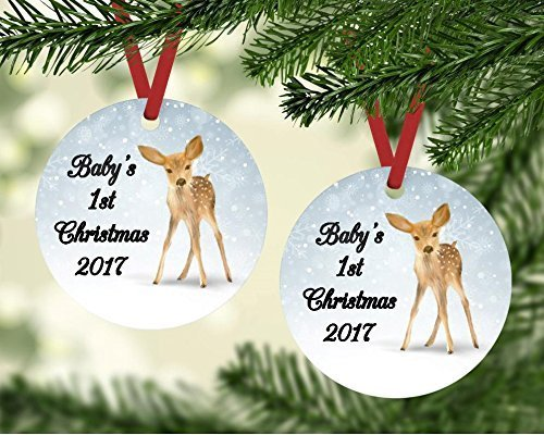 Baby's First Christmas Ornament - Fawn and Snowflakes - Customize the Year