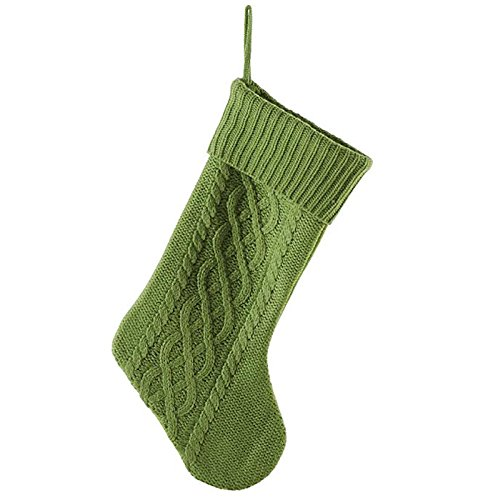 Green Cable Knit Sweater with Ribbed Cuff 20 inch Christmas Stocking Decoration]()