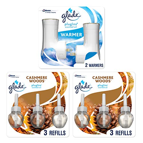 Glade PlugIns Scented Oil Warmer and Cashmere Woods Starter Kit (2 Warmers + 6 Refills), Essential Oil Infused Wall Plug in, Up to 50 Days of Continuous Fragrance, 2 Warmers, 4.02 FL OZ, Pack of 6