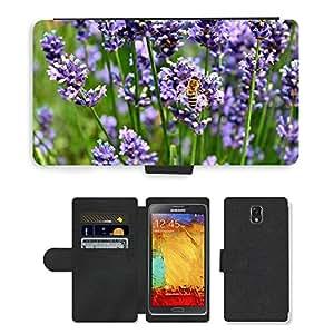 CARD POCKET BOOK CASE PU LEATHER CASE // M00146343 Lavender Bee Hummel púrpura insectos // Samsung Galaxy Note 3 III N9000 N9002 N9005