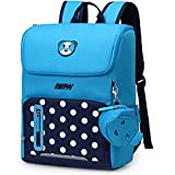 Primary School Backpack Book Bag for Boys Girls 5-12 years old, Uniuooi Waterproof Polyester Children Travel Rucksack Cute Cartoon Schoolbag Laptop Bag (Blue & Navy, Small)