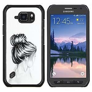 Busto Cabello Cabeza Lápiz Dibujo Sad- Metal de aluminio y de plástico duro Caja del teléfono - Negro - Samsung Galaxy S6 active / SM-G890 (NOT S6)