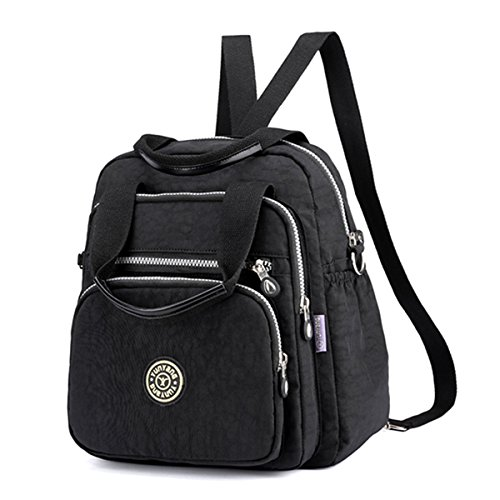 Bag Multipurpose Stylish Backpack Bag Fashion Elegant Lady JOSEKO Women Nylon Shoulder Travel Black Shoulder U7qF0wB8