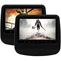 EinCar 9-inch Black leather Dual Car Headrests Mount 2 PCS Backseat DVD Players with HDMI Port/USB/SD IR/FM/Speaker/Earphone Jack with Touch Button support 32 Bit Games with 2 x Game Handles
