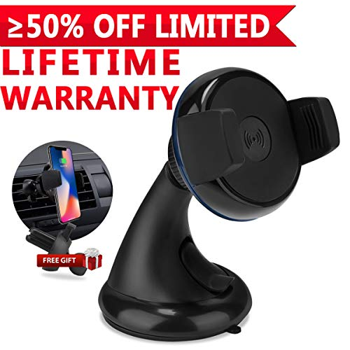 Wireless Car Charger, iFunTec Car Phone Mount Holder Air Vent Phone Holder, 2 in 1 Universal Phone Holder Mount Compatible with iPhone X XS MAX 8 Plus,Samsung Galaxy Note 8 S9+ QI-Enabled Smartphone