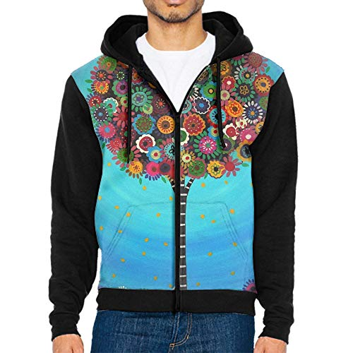 (Mens Sweatshirt Fashion Mexican Folk Art Tree Print Sweatshirt Hooded Zipper)