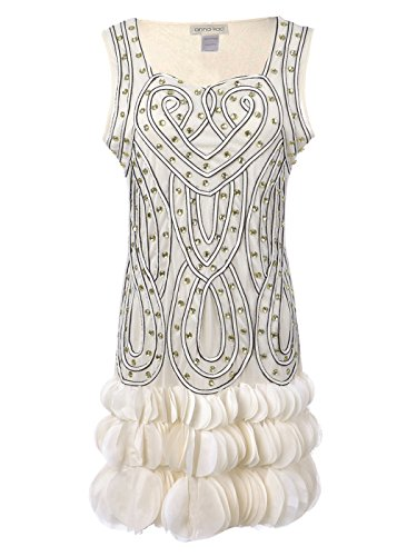 Anna-Kaci Womens Glam Beaded Heart Deco Petal Hem Flapper Inspired Mini Dress, Off-White, Large