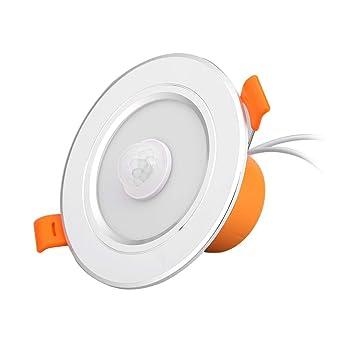 Starnearby Lámpara LED de techo con sensor de movimiento, panel redondo, luces de techo