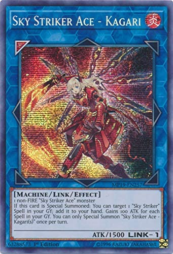 Amazon Com Yu Gi Oh Sky Striker Ace Kagari Mp19 En257 Prismatic Secret Rare 1st Edition 2019 Gold Sarcophagus Tin Mega Pack Toys Games