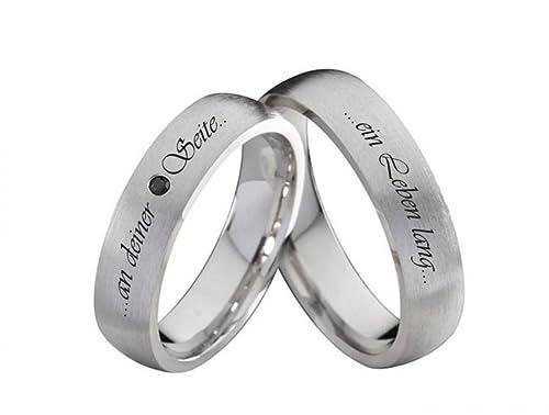 Anillos de Compromiso Partner S915 anillos plata con piedras de colores y su grabado láser: Amazon.es: Joyería