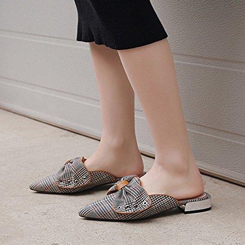 Sandals ZCJB Baotou Half Slipper Woman Summer Fashion Outer Wear Flat Bottom Women's Shoes Fashion Lattice No Heel Lounger Shoes Style1 pJUT0U1XA