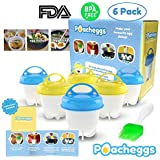 Poacheggs Egg Silicone Cooker Set, Soft And Hard Boiled Eggs Without Shell, 6 pack Silicone Cups, Non Stick, FDA/BPA Free
