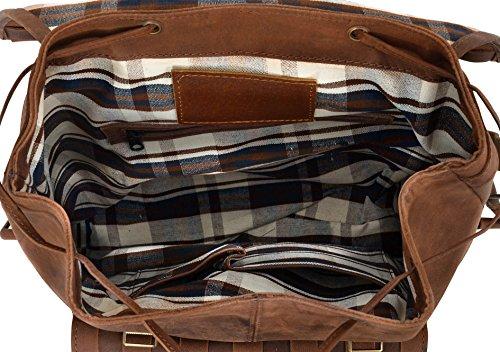 """Gusti Leder studio """"Nate"""" zaino da città in pelle per portatile 17"""" lavoro università con design particolare robusto elegante pelle di bufalo vintage unisex marrone antico 2M20-26-3"""