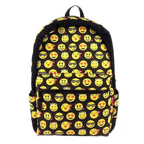 Hanshu Graffiti Emoji Backpack Smiley Shoulder Day Pack for Kids, Style 2