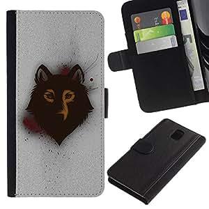 All Phone Most Case / Oferta Especial Cáscara Funda de cuero Monedero Cubierta de proteccion Caso / Wallet Case for Samsung Galaxy Note 3 III // Spray Graphiti Wolf Art