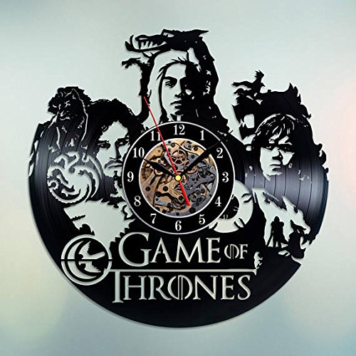 Game of Thrones Vinyl Record Wall Clock - Get unique home room wall decor - Gift ideas for his and her Dragons Silhouette Unique Art Design (Gifts Delivered For Her)
