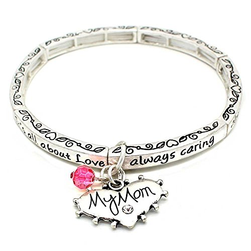 [All About Love Charm Bracelet, 'Mom' - This Silver Stretchy Bangle Bracelet Is The Perfect Gift Making Any Mom Feel Special And] (Bay Watch Costumes)