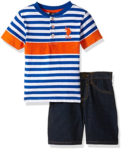 U.S. Polo Assn. Little Boys' Striped Henley with 5 Pocket Denim Short