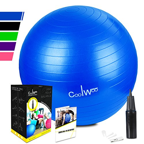 Coolwoo Exercise Ball with Pump for Yoga Pilates Fitness Balance & Stability,...