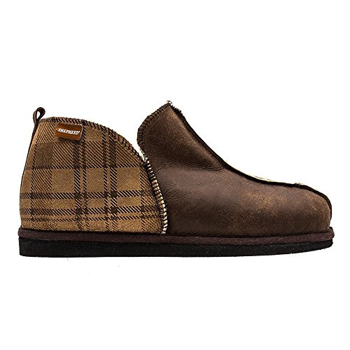 Pantofole da uomo in Lana di Pecora con Finitura di pelle Checked/Brown