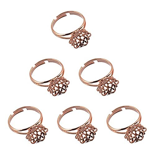 MagiDeal 6pcs Adjustable Brass Ring Blank Base Settings Jewelry Making Findings Rose Gold (Adjustable Filigree Ring Blanks)