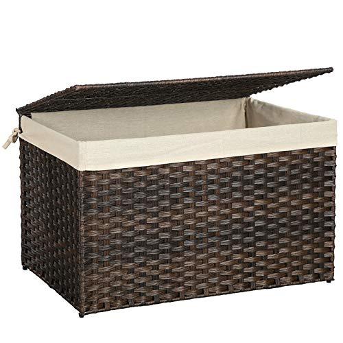 SONGMICS Rattan-Style Storage Box, 42 Gallon Indoor Storage Basket Trunk, Laundry Hamper, Toy Chest, 160L Decorative Bin with Lid Liner Handles, Rectangular, Bedroom Closet Laundry Room,Brown URST76BR (Rattan Bins)