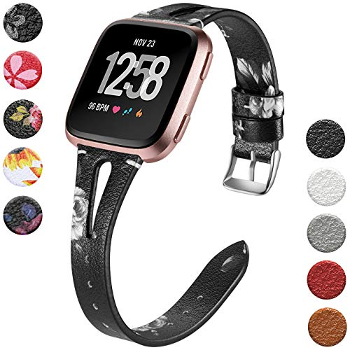 Wepro Leather Bands Compatible with Fitbit Versa & Versa Lite SE Watch for Women Men, Small, Slim Genuine Leather Wristbands Straps for Fitbit Versa & Versa Lite SE SmartWatch, Black/Gray Floral
