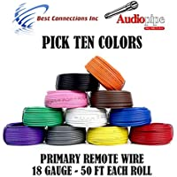 10 Rolls Audiopipe 50 Feet 18 Gauge AWG Primary Remote Wire Auto Power Cable
