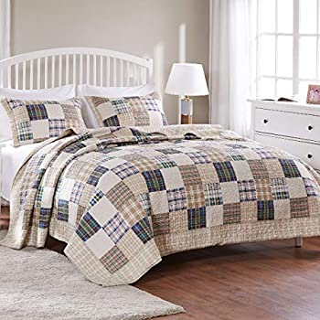 VHC Brands Farmhouse Bedding Sawyer Mill Cotton Pre-Washed Chambray Sham California King Quilt Set Charcoal Grey 51701