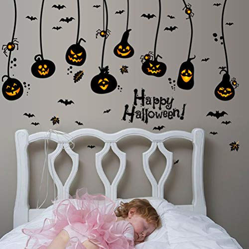 SUPVOX Halloween Wall Decals Halloween Wall Stickers Pumpkins Spooky Cemetery Witch Bats Tomb Wall Stickers for Halloween Decoration ()