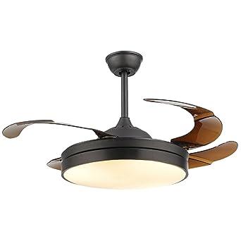 MMYNL Invisible simple ventilador ventilador de techo con lámpara para sala comedor ventilador slim luces colgantes