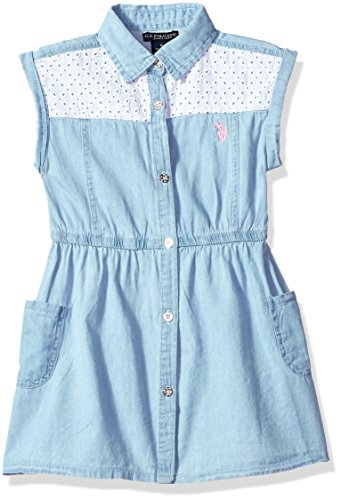 U.S. Polo Assn. Girls' Little Casual Dress, Eyelet Yoke Button Front ice wash, 4 -