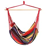 Ancheer Hanging Rope Hammock Chair Porch Swing Seat for Indoor or Outdoor Spaces Max.265 Lbs with One Spreader Bar Red Purple Review