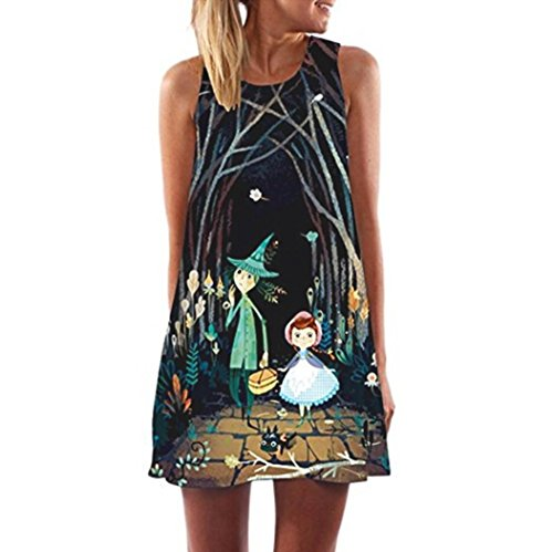 Clearance ! Auwer Vintage Boho Beach Dress, Women Loose Summer Sleeveless 3D Floral Print Bohe Tank Mini Dress (S, Black (2 Print Lines)