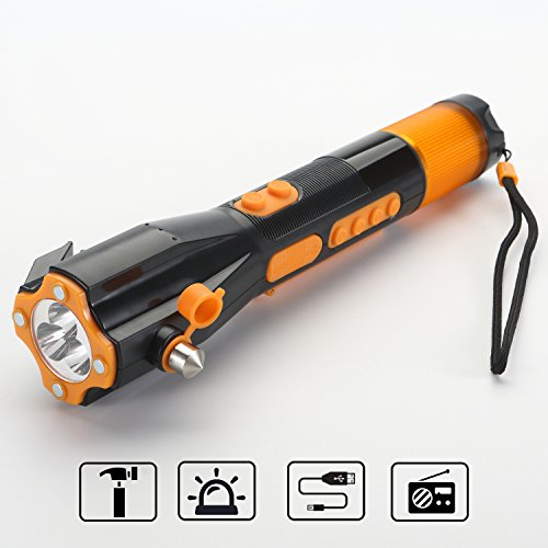 Emergency Flashlight Wind up Radio Water Resistant Window breaker ALL in  ONE Rechargeable Survival tool Seat belt cutter Bright LED Hand crank USB