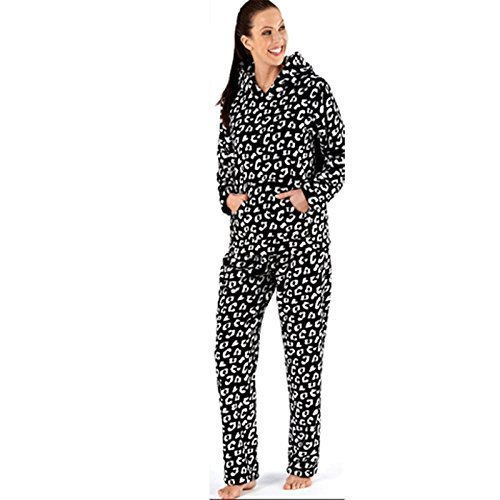 Mujer Estampado Animal Leopardo Conjunto Pijama Capucha Con Orejas De lujo Plush Vellón Coral LN156 -