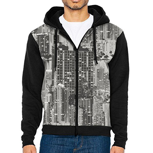 MOME CAW Retro City Pattern Novelty Jacket Sweatshirts For - Village Port Bridge