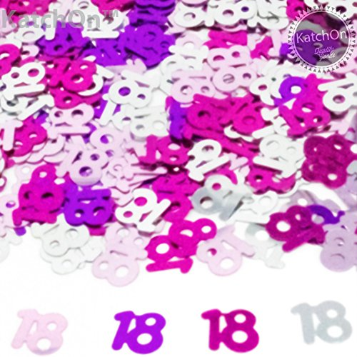 18th BIRTHDAY and ANNIVERSARY CONFETTI - 1.5 Oz - 18th Birthday Decorations | Beautiful Table Decorations for 18th Birthday Party Supplies | 3 Colors | Light Pink - Hot Pink (Table Decorations For 18th Birthday Party)