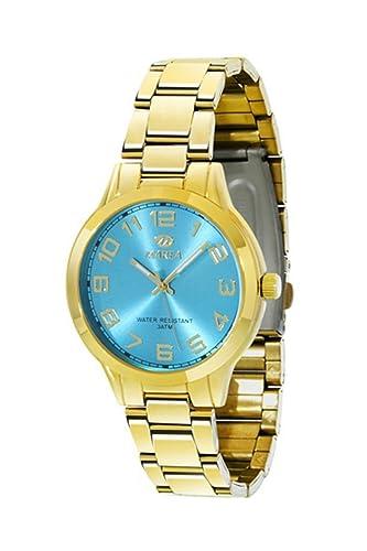 Reloj Marea Nineteen Steel Mujer B21151/7 Dorado y Azul Celeste: Amazon.es: Relojes