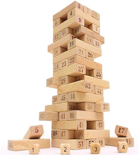 LIPETLI Altura la Pila Torre Tradicional Jenga Calidad Sólido Madera Juguetes Torre Bloques Juguete Habilidad Educativo Juego Equilibrio Torre Apilamiento Bloques Niños Family: Amazon.es: Deportes y aire libre