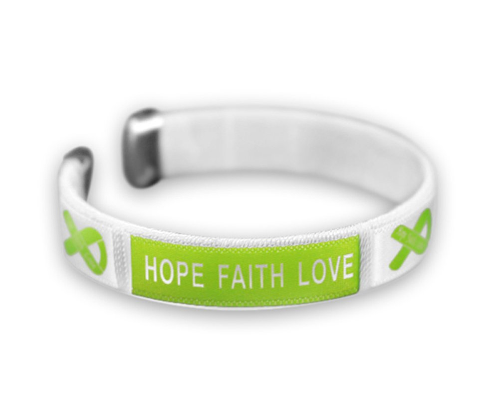 Fundraising For A Cause 25 Pack Lime Green Ribbon Hope Bangle Bracelets (Wholesale Pack - 25 Bracelets)