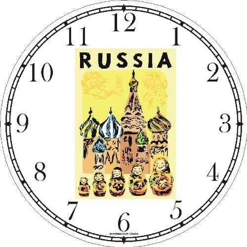 WatchBuddy Travel Poster of Russia – St. Basil Cathedral Russian Dolls – Famous Landmarks – Wall Clock Timepieces White Frame